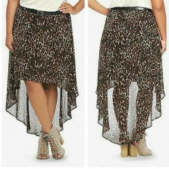 torrid Dresses & Skirts - TORRID SIZE 18 LEOPARD PRINT HI LOW SKIRT